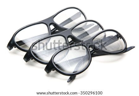 a pair if 3D cinema glasses isolated on a white background. - stock photo