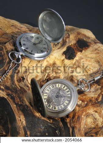 A pair of antique pocket watches on an interesting piece of twisted wood.