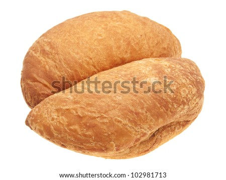 A pair of baked meat pies. On a white background.
