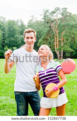 a pair of beautiful young athletes - stock photo
