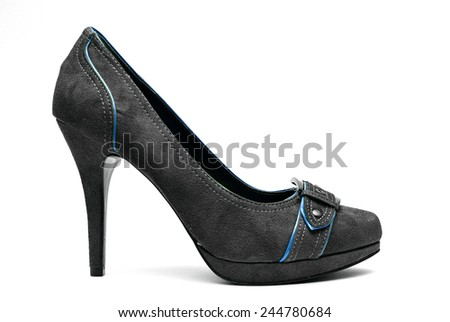 A pair of Black and Blue High Heels on a White Background - stock photo