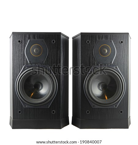 A pair of black hi-fi speakers isolated against a white background