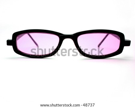 A pair of black horn-rimmed sunglasses. Lens with pink tint.