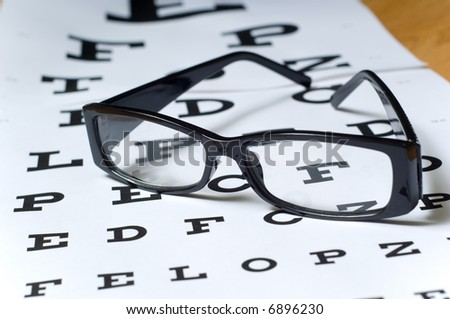 A pair of black reading glasses or spectacles on an Snellen eye chart