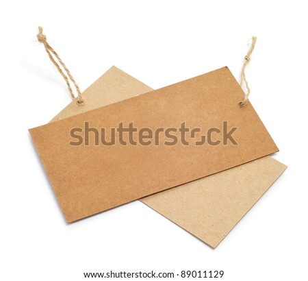 a pair of blank paper labels on a white background