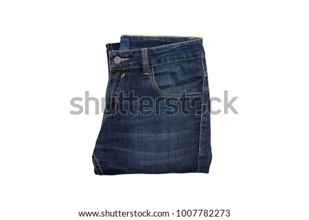 A pair of blue jeans isolated on white background with clipping path.