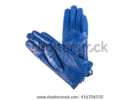 A pair of blue leather gloves, isolated