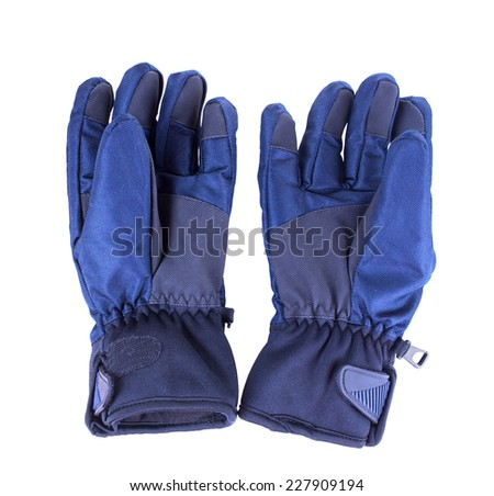 A pair of blue warm gloves. Isolated on white background - stock photo