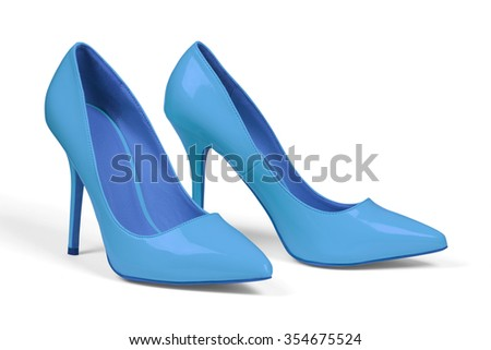 A pair of blue women's heel shoes isolated over white with clipping path. - stock photo