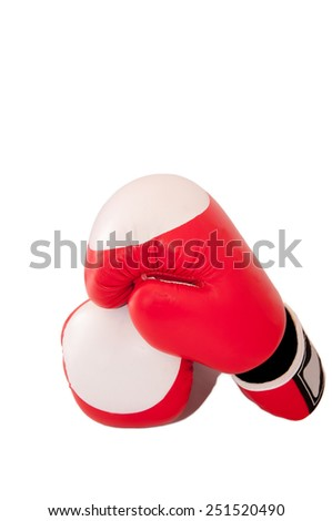 A pair of boxing-gloves isolated on white. - stock photo