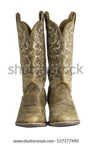 A pair of brown ladies cowboy western boots isolated on a white background. - stock photo