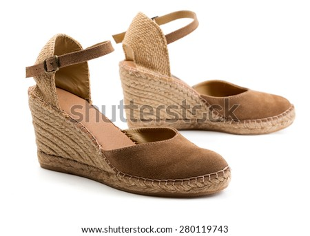 A pair of brown suede women's shoes. Isolate on white.