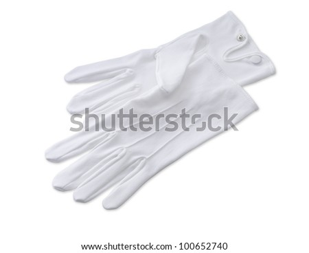 a pair of butlers white gloves isolated on white with clipping path - stock photo