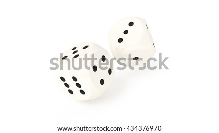 A pair of dices rolling / thrown, isolated on white background, 3D render, close up.