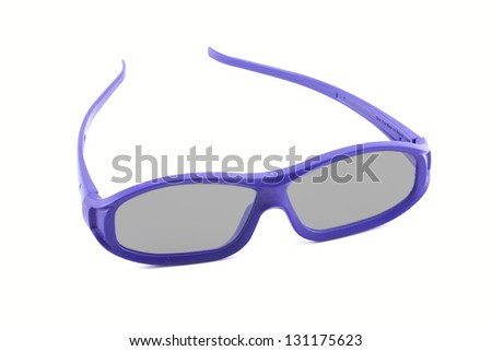 A pair of disposable 3D movie glasses isolated against a white background
