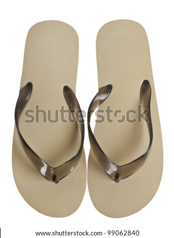a pair of flip-flops isolated on a white background - stock photo