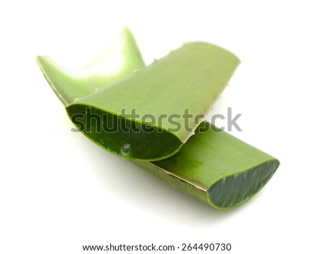 a pair of fresh aloe vera sliced on white background  - stock photo