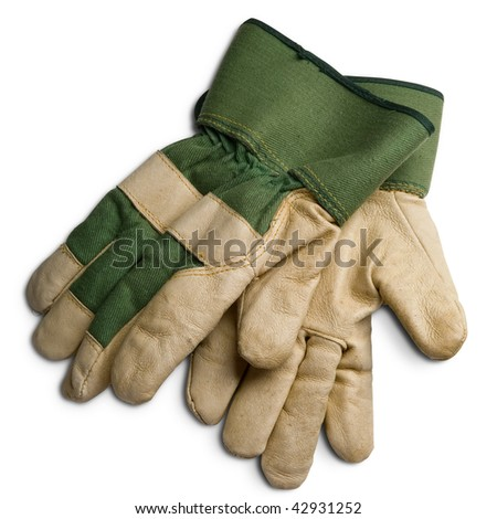 a pair of gardener's protection gloves on white - with clipping path - stock photo