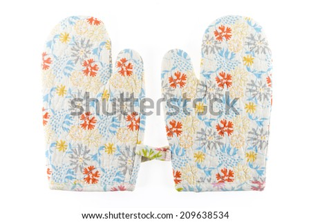 A pair of glove for carry hot thing when finish cooking from a microwave, isolated on white background - stock photo