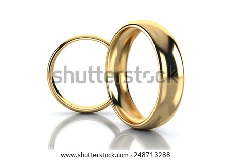 A pair of gold wedding rings 3d render isolated on white background