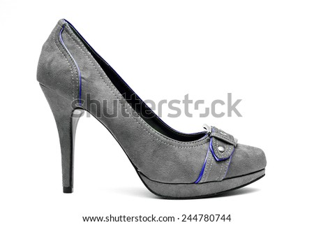 A pair of Grey and Blue High Heels on a White Background