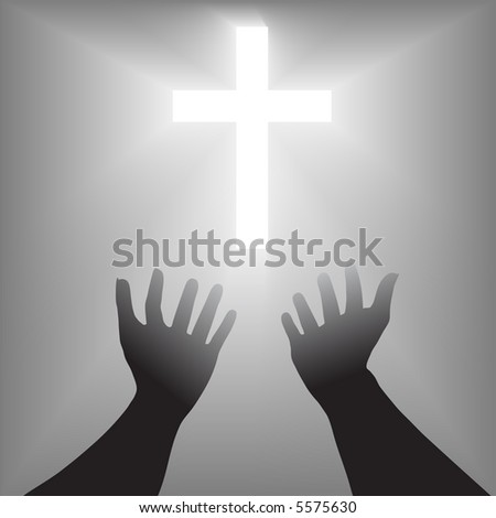 A pair of hands reach out toward a radiant shining cross in supplication, prayer for salvation.