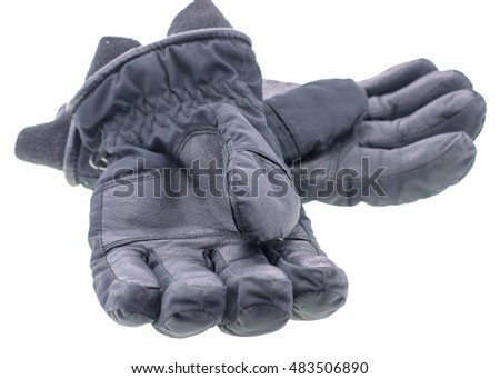 A pair of leather gloves isolated on white background