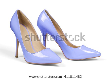 A pair of light blue high heel shoes isolated on white with clipping path.