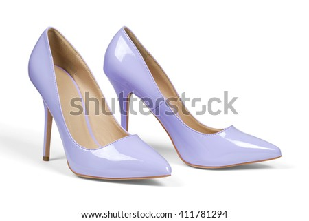 A pair of light purple high heel shoes isolated on white with clipping path.