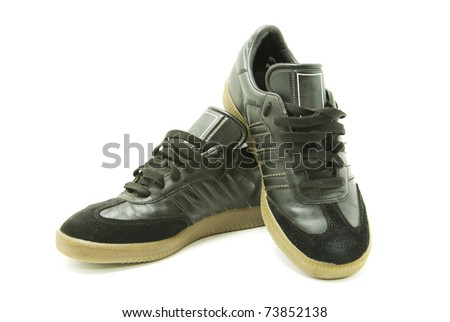 A pair of men's running shoes on white - stock photo