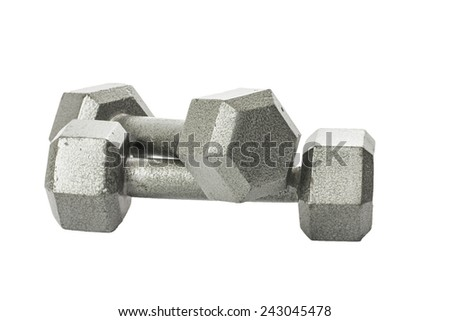 A pair of metal dumbbells isolated on a white background. - stock photo