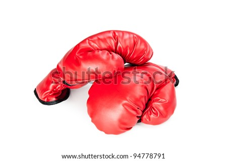 A pair of new boxing gloves on a white background