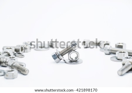 a Pair of nuts and bolts on a white background