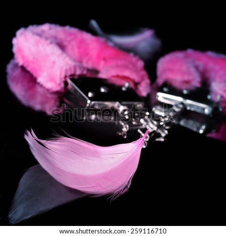 a pair of pink sexy fluffy handcuffs and some pink feathers used as adult toys on a reflecting black background - stock photo