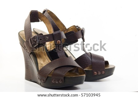 A pair of platform wedges - stock photo