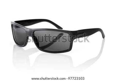 A Pair of quality Sunglasses on white with natural reflection.