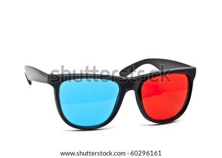 A pair of red-cyan anaglyph 3D glasses on a white background. - stock photo