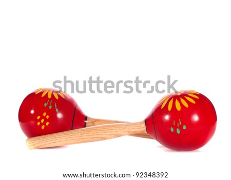 A pair of red maracas isolated on white background - stock photo