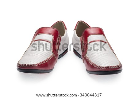 A pair of red-white male shoes without laces on a white background. Side view.