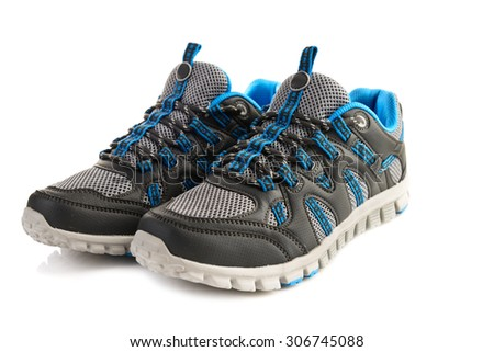 A pair of sport shoes isolated - stock photo