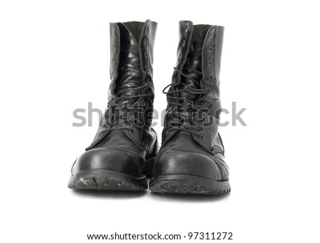 A pair of steel-capped boots - stock photo