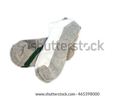A pair of striped socks on a white background