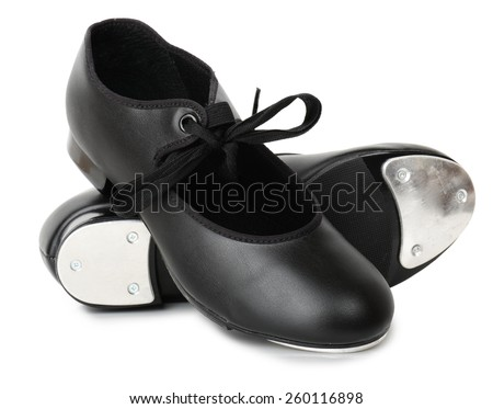 A pair of tap dancing shoes isolated on white - stock photo