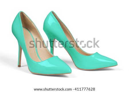A pair of turquoise high heel shoes isolated on white with clipping path.