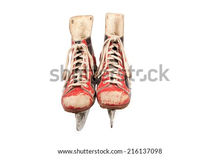 a pair of vintage ice skates, used look, red and black, white background, retro,