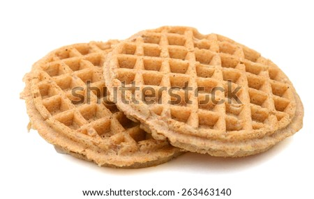 a pair of waffle on white background  - stock photo