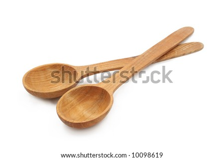 a pair of wooden spoons - stock photo