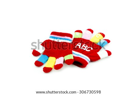 a pair red hand glove with alphabet  isolated white background - stock photo
