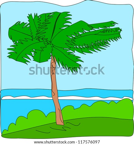 A palm tree blows with the wind, near the coastline, on top of a raised strip.