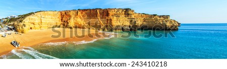 A panorama of Benagil beach in Algarve region, Portugal, Europe - stock photo